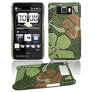Premium - HTC HD2 Full Diamond Protex Green Daisy(Carrier:T-Mobile) - Faceplate - Case - Snap On - Perfect Fit Guaranteed