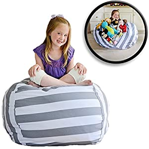 "Creative QT EXTRA LARGE Stuffed Animal Storage Bean Bag Chair - Stuff 'n Sit - By Pouf Ottoman for Toy Storage for Kids - Available in 2 Sizes and 5 Patterns (38"", Grey/White Striped)"