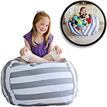 """Creative QT EXTRA LARGE Stuff 'n Sit - Stuffed Animal Storage Bean Bag Chair for Kids - Pouf Ottoman for Toy Storage - Available in 2 Sizes and 5 Patterns (38"""", Grey/White Stripe)"""