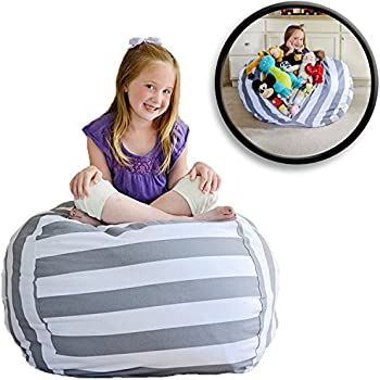 """EXTRA LARGE Stuffed Animal Storage Bean Bag Chair - Stuff 'n Sit - By Creative QT - Pouf Ottoman for Toy Storage for Kids - Available in 2 Sizes and 5 Patterns (38"""", Grey/White Striped)"""