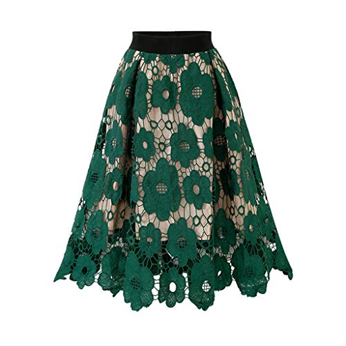 Women Hollow Out Skirt Elegant Vintage High Elastic Waisted Long Midi Skirt Floral Crochet Flare Skirt by Lowprofile Green