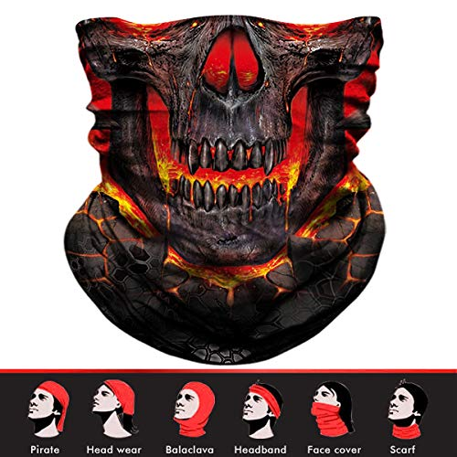 Skull Face Mask, 3D Tube Mask Seamless Durable Face Mask Bandana Skeleton Face Mask for Motorcycle Bike Riding Fishing Hunting Cycling -