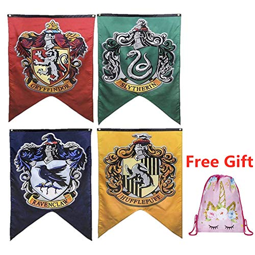 Harry Potter Complete Hogwarts House Wall Banners, Ultra Premium Double Layered Indoor Outdoor Party Flag - Gryffindor, Slytherin, Hufflepuff, Ravenclaw - 30