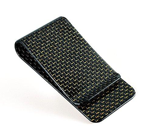 CL Carbonlife(TM)  Carbon Fiber Glossy Money Clip Credit Card Business Card Holder Gold