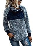 PRETTYGARDEN Women's Warm Long Sleeves Oblique Button Neck Splice Geometric Pattern Fleece Pullover Coat Sweatshirts Outwear (Blue, Large)