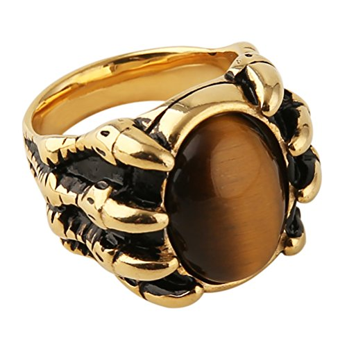 HZMAN Men's Vintage Large Tiger Eye Stone Stainless Steel Dragon Claw Cross Ring Band Gothic Biker Knight Gold Silver (Gold, 8)