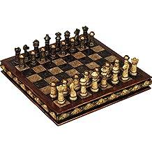 Benzara Deco 79 Poly-Stone Chess Set, 10 by 3-Inch