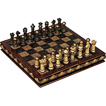Deco 79 Poly Stone Chess Set, 10 By 3 Inch
