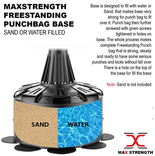 Max Strength Free Standing Punch Bag Standing Boxing Bag Striking Bag Fitness Equipment MMA Bag Kickboxing Kick Bag 6ft Home Gym Kick Training Martial Arts MMA Black/Red