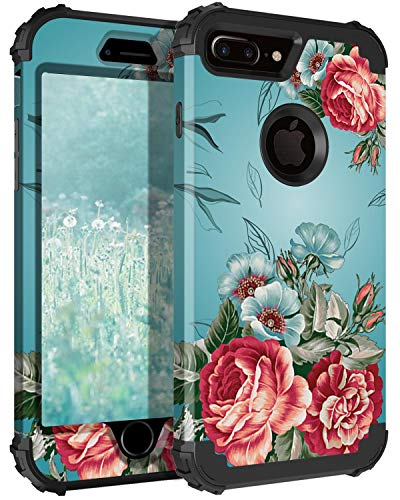 Lontect Compatible iPhone 8 Plus Case Floral 3 in 1 Heavy Duty Hybrid Sturdy Armor High Impact Shockproof Protective Cover Case for Apple iPhone 8 Plus/iPhone 7 Plus - Teal/Red Flower