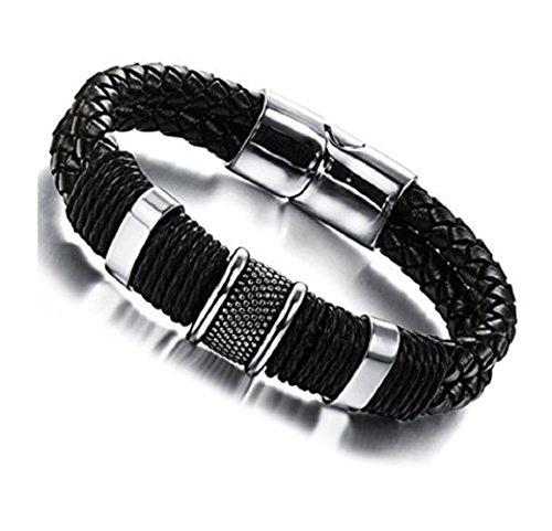 Ysiop Men Leather Braid Wrap Bracelet Charm Titanium Steel Skull Kill Love Bangle - Date Titanium Bracelet