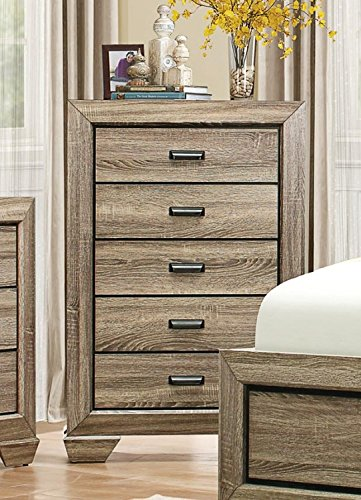 HEFX Furniture Bainbridge 5 Piece Natural California King Bedroom Set with Chest in Rustic Beechwood - Bed, Nightstand…