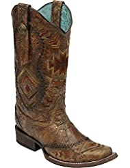 Corral Womens Cognac Ethnic Pattern Boot,Cognac,8.5M