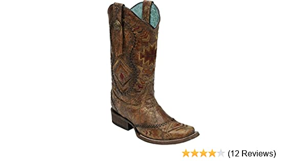 71cbc85b3cc Corral Boots Women's 12-Inch Leather Southwestern Pattern & Whip Stitch  Square Toe Western Boot