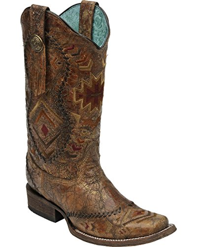 Corral Boot Company Womens Cognac Ethnic Embroidered Cowgirl Boots 7.5 B(M) US Multi Jrbc26c3