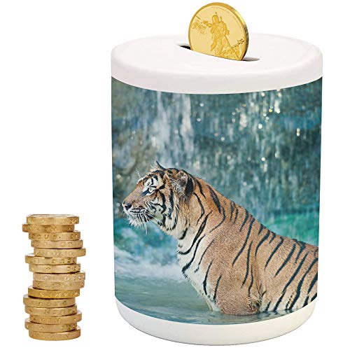 Tiger,Ceramic Baby Bank,for Party Decor Girls Kid's Children Adults Birthday Gifts,Feline Beast in Pond Searching for Prey Sumatra Indonesia Scenes - Color Blanks Bank Piggy