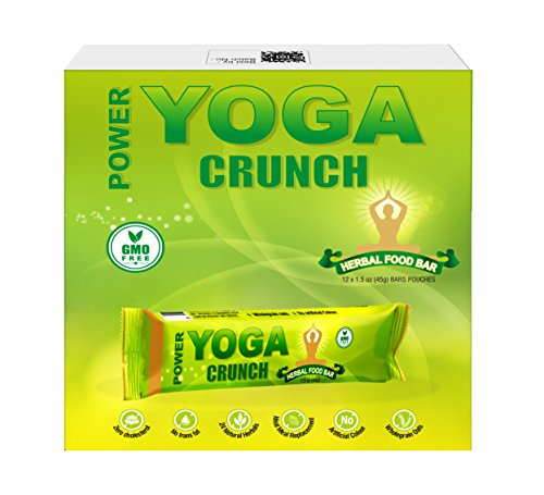 24x7Energy - POWER YOGA CRUNCH Herbal Nutritional Bar, Meal Replacement with 24 Ayurvedic Herbs- Pack of 12 Bars