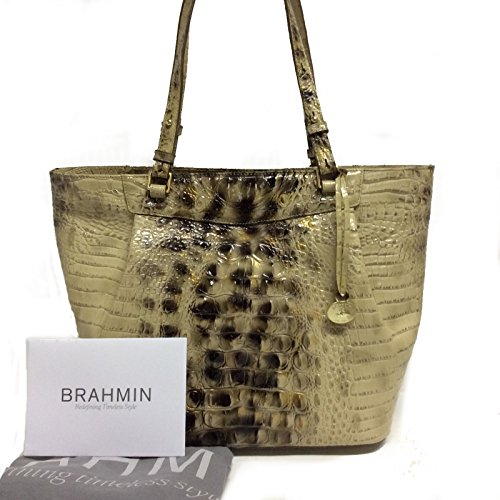 NEW AUTHENTIC BRAHMIN MALIA LARGE CARRYALL EXOTIC LEATHER TOTE (Summer Tortoise Melbourne) (Summer Tortoise) by Brahmin