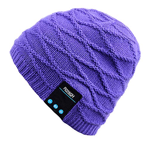 Mydeal Rechargeable Bluetooth Audio Beanie Fashional Double Knit Skully Hat Cap w/ Wireless Stereo Headphone Headset Earphone Speakerphone Mic for Sports Skating Hiking Camping Christmas Gift- Purple
