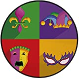 Printing Round Rug,Mardi Gras,Colorful Frames with Mardi Gras Icons Masks Harlequin Hat and Fleur De Lis Print Mat Non-Slip Soft Entrance Mat Door Floor Rug Area Rug For Chair Living Room,Multicolor