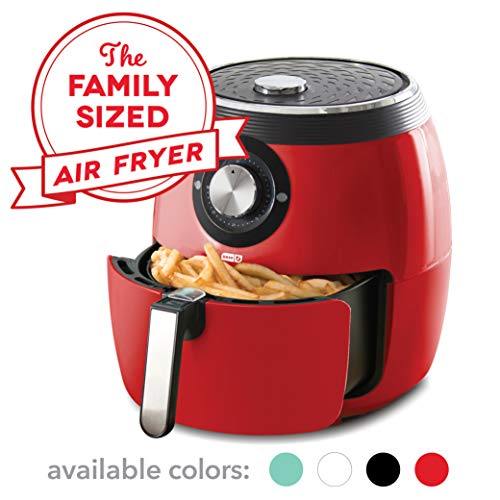 Dash DFAF455GBRD01 Deluxe Electric Air Fryer + Oven Cooker with Temperature Control, Non Stick Fry Basket, Recipe Guide + Auto Shut off Feature, 6qt, Red (Sales Appliance Christmas After)