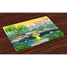 King Place Mats Set of 4 by Ambesonne, Fairytale Inspired Cute Little Frog Prince near Lake on Moss Rock with Flowers Image, Washable Placemats for Dining Room Kitchen Table Decoration, Multicolor