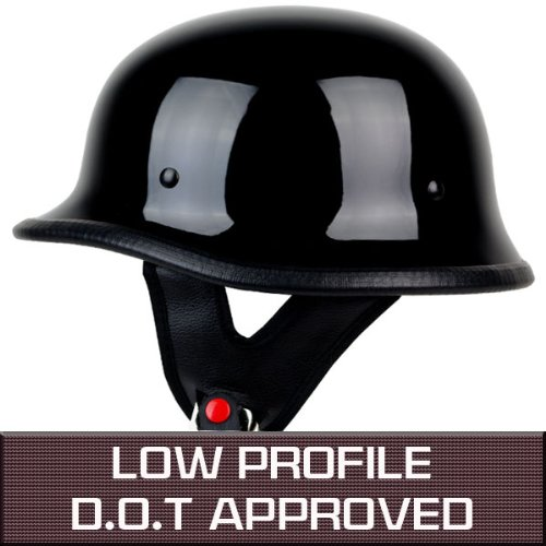 PGR B09 GLOSS BLACK LOW PROFILE GERMAN STYLE HARLEY STYLE DOT APPROVED MOTORCYCLE HALF HELMET CHOPPER CRUISER CUSTOM AIRSOFT PAINTBALL (XS)