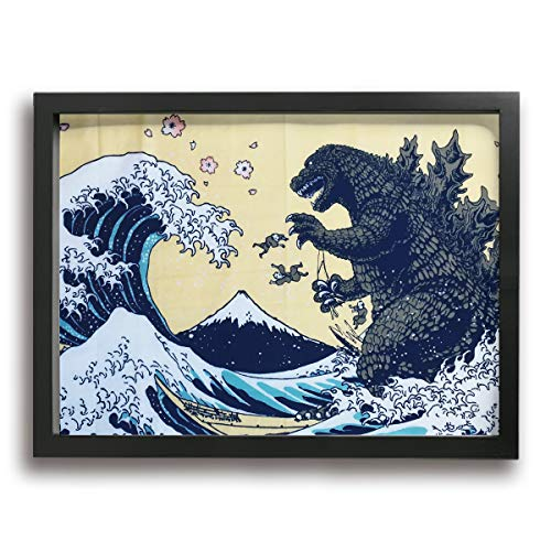 Little Monster Kaiju Godzilla Wave Framed Painted On Canvas Decorations Modern Art for Boys and Girls Bedroom Black