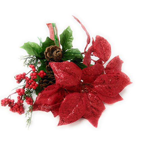 Tree Bush Halloween Costume (Holiday 5-Stem Christmas Decor Flower Decoration Glittered Poinsettia Bushes, 13 in. Red with Pine Cone Accent)