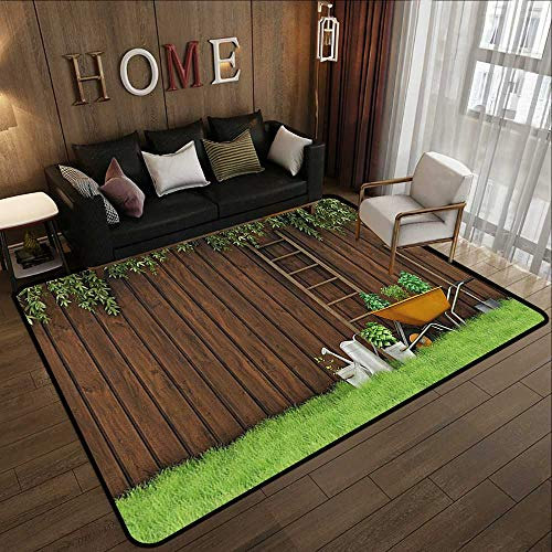 Multi-Color Modern Area Rug,Farm House Decor,Gardening Material Tools on The Backyard with Shovel and Bucket Print,Green Brown 63