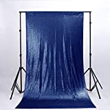 Sequin Backdrop Curtain 8FTx10FT-Navy Blue-Shimmer Sequin Fabric for Anniversary Decor