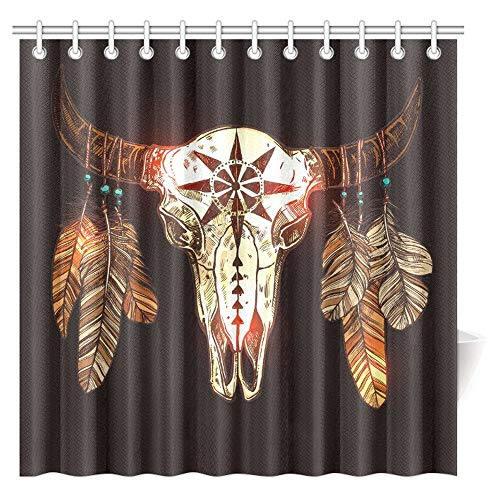 Keke's Home Native American Buffalo Skull with Feathers, Polyester Fabric Mildew Proof Waterproof Cloth Shower Room Decor Shower Curtains,36