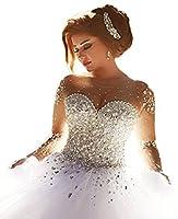 Lanshini Women's Beaded Wedding Dress Long Sleeves Tail Dress for Bride for Bride LSN153