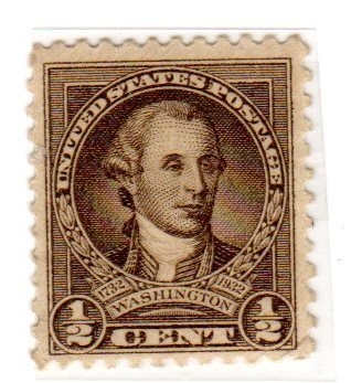 Postage Stamps United States. One Single 1/2 Cent Olive Brown Washington Bicentennial Issue Stamp Dated 1932, Scott #704. ()