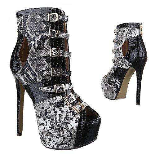 Ital-Design - Zapatos de Tacón Mujer Negro - Schwarz Grau