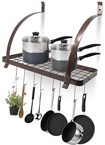 Sorbus Kitchen Wall Pot Rack with Hooks - Decorative Wall Mounted Storage Rack - Multi-Purpose Shelf Organizer Great for Kitchen Cookware, Utensils, Pans, Books, Household Items, Bathroom (Bronze)