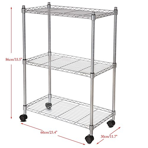 3 Tier Wire Shelf Unit, Wire Shelf Storage Organizer Modern Rolling Cart Rack with Wheels (US STOCK) by Cosway