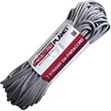 Paracord Planet 550 lb, 100' Foot Hank, Silver Grey Parachute Cord. Also known as paracord rope, parachute rope, utility cord, tactical cord, and military cord. USA made to provide durability and strength.