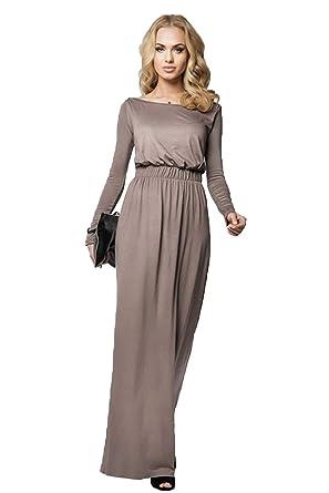 Robe Longue Femme Automne Hiver Élégant Boho Chic Tunique Empire col Bateau  Manches Longues Vintage Decontractee bc8e88d5cc96