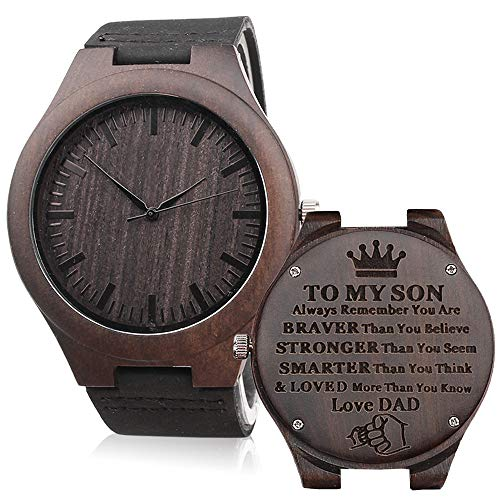 Engraved Wooden Watches for Son - Engraved to My Son Love Dad - Son Gift from Dad to Son Watch Son Birthday Gift