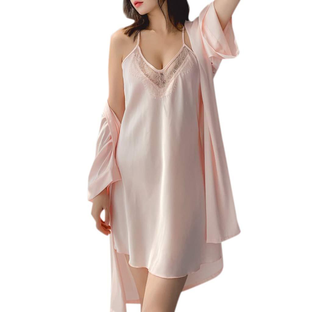 Huifa Women Solid Pajamas Underwear Summer V-Collar Robe Lingerie Sling Nightgown (Pink,XL)