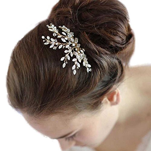 Missgrace Women's Wedding Hair Combs - Bridal Hair Accessories Head Piece Vintage Wedding Pearls Crystal Hair Combs (gold)