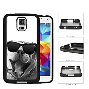 Bulldog Wearing Wayfarer Glasses Grayscale Rubber Silicone TPU Cell Phone Case Samsung Galaxy S5 SM-G900