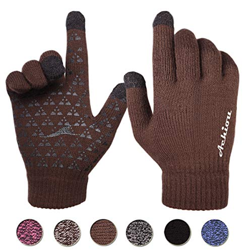 Achiou Touchscreen Texting Gloves Winter Warm for Women Men Knit Wool Lined (Coffee) ()