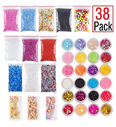 EDsports 33 Pack Slime Making Kits Supplies,Fishbowl Beads,Foam Balls,Glitter Shake Jars,Fruit Flower Candy Slices Accessories,DIY Art Craft for Homemade Slime, Wedding and Party Decoration EDsportshouse