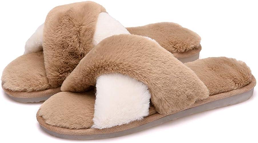 Women Plush Warm Home Slippers Cross Shoes