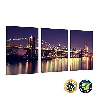 Creative Art - Gallery Wrap Canvas Print- New York Brooklyn Bridge Skyline Cityscape Canvas Wall Art Ready to Hang