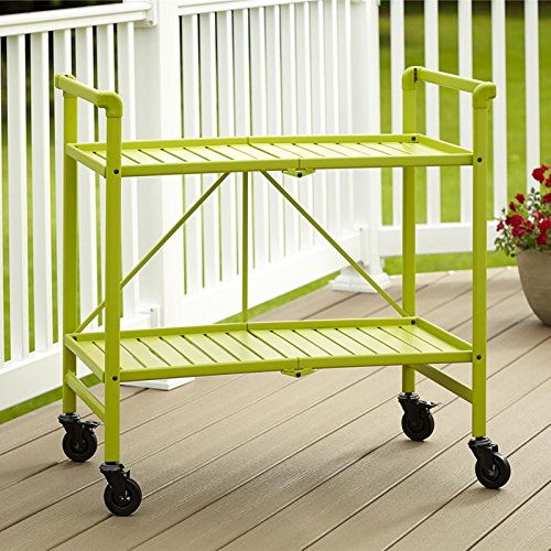 E B Metal Slat Folding Serving Cart Apple Green