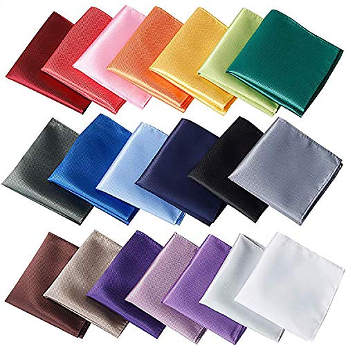 20 pcs Assorted Solid color Pocket squares for Men ()