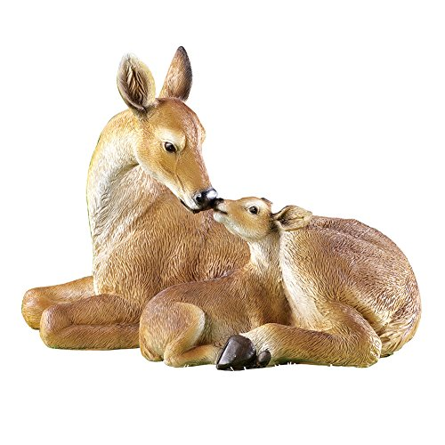 Deer And Fawn Garden Statue Woodland Decoration for Yard, - Painted Nose Hand Flower